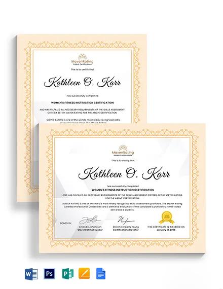 Women Fitness Certificate Template