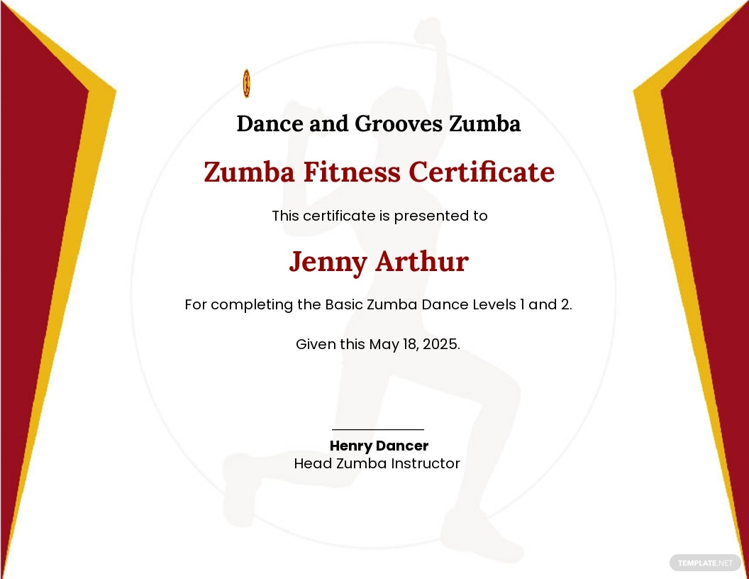 Zumba Fitness Certificate Template