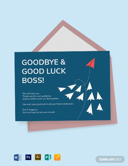 Farewell Card Template For Boss