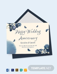 Happy Wedding Anniversary Card Template