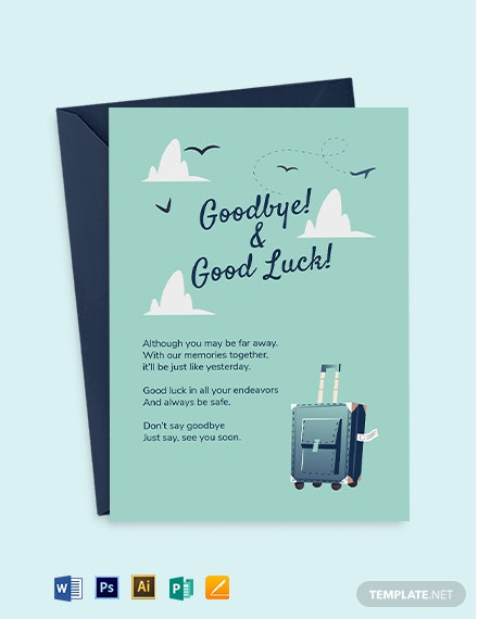 Printable Farewell Card Template