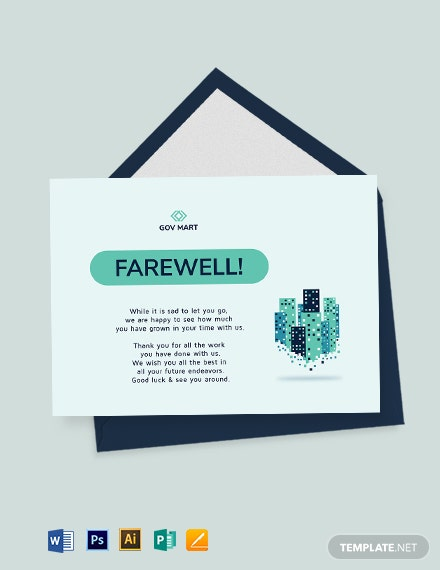 Professional Farewell Card Template