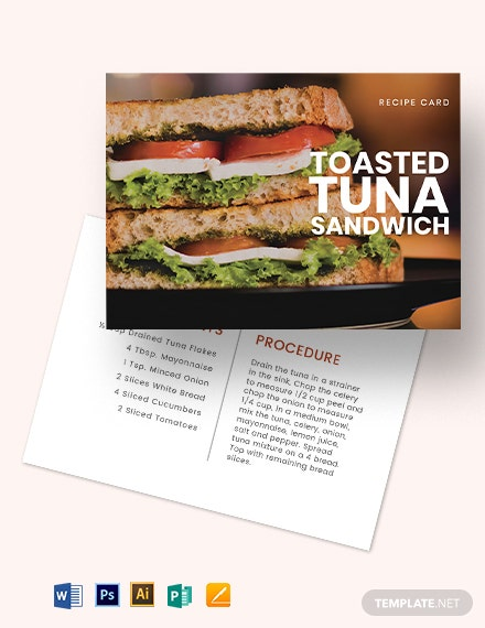Sandwich Recipe Card Template