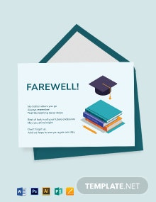 Student Farewell Card Template