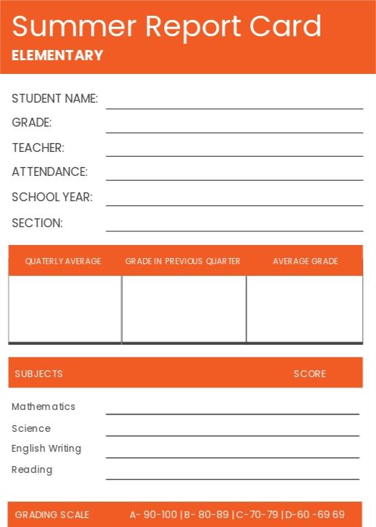 Summer Report Card Template