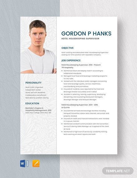Hotel Housekeeping Supervisor Resume Template