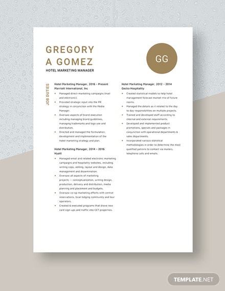 Hotel Marketing Manager Resume Template