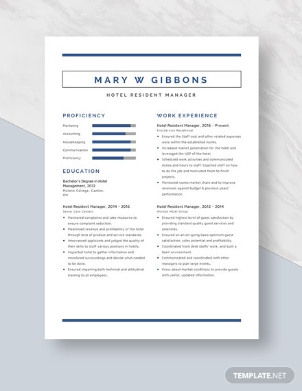Hotel Resident Manager Resume Template
