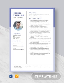 House Attendant Resume Template