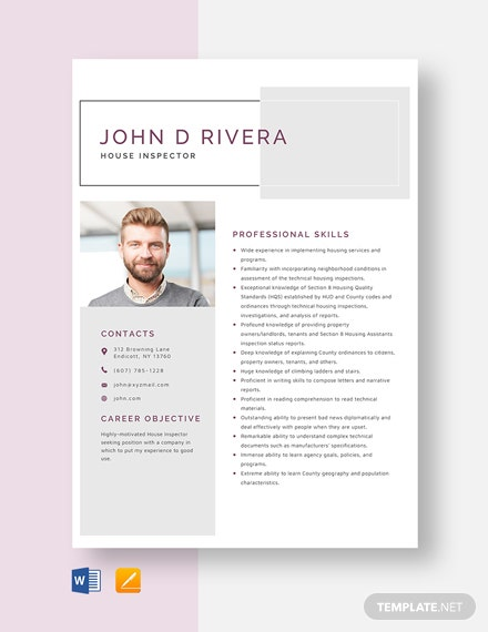 House Inspector Resume Template