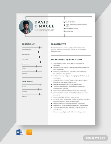 Housekeeper Supervisor Resume Template