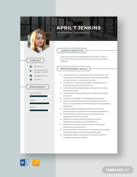 Housekeeping Coordinator Resume Template