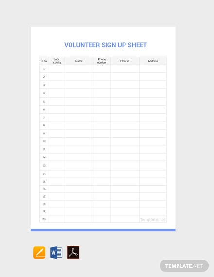 Free Volunteer Sign Up Sheet Template Pdf Word Doc Google Docs Apple Mac Pages