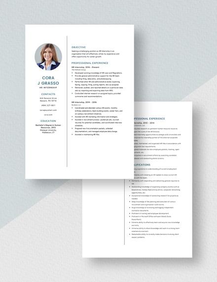 HR Internship Resume Download