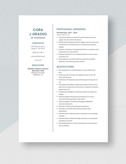 HR Internship Resume Template