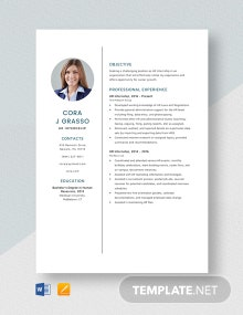 HR Internship Resume Template