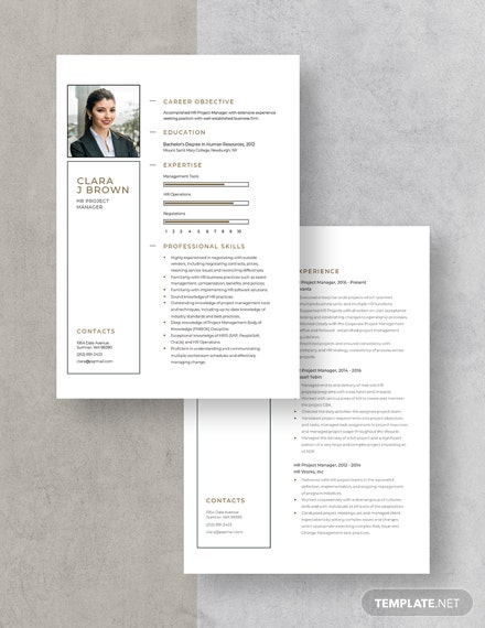 HR Project Manager Resume Download