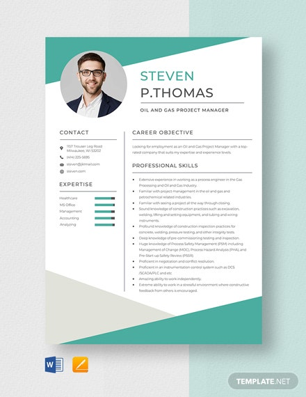 Oil and Gas Project Manager Resume Template