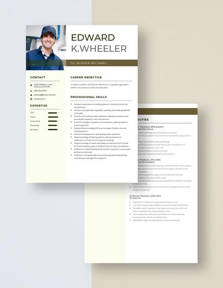 Oil Burner Mechanic Resume  Download
