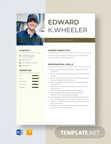 Oil Burner Mechanic Resume Template