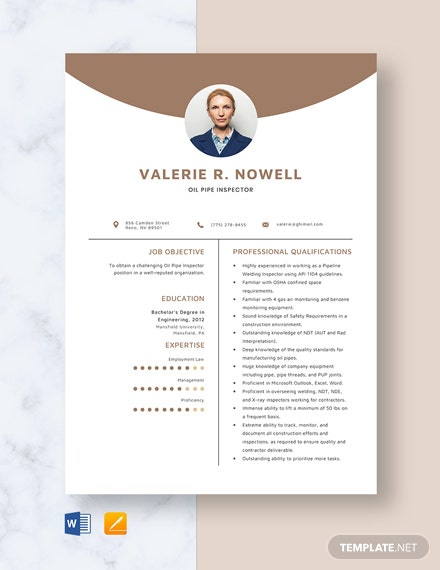 Oil Pipe Inspector Resume Template