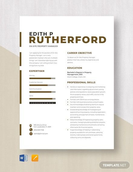 On Site Property Manager Resume Template