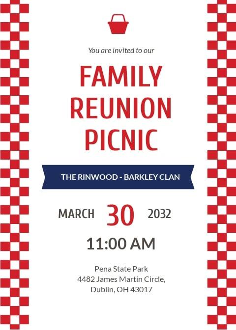 Free Family Reunion Picnic Invitation Template