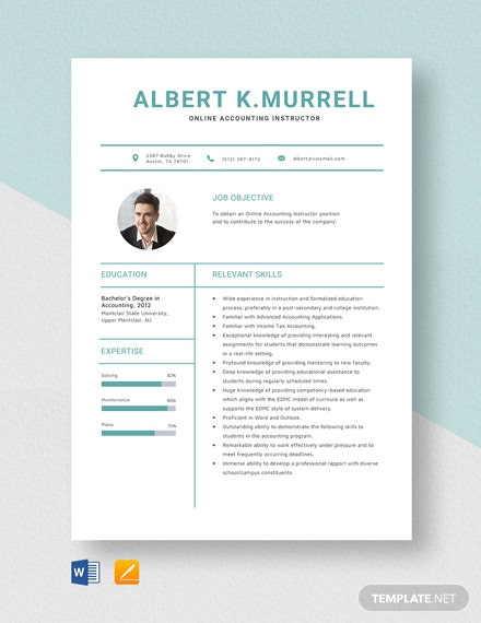 Online Accounting Instructor Resume Template
