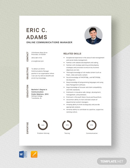 Online Communications Manager Resume Template
