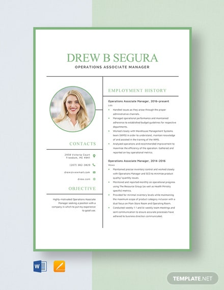 Operations Associate Manager Resume Template