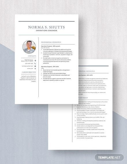 Operations Engineer Resume Download