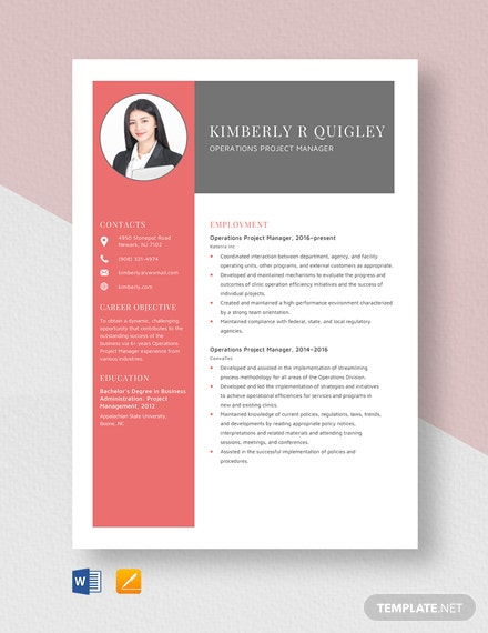 Operations Project Manager Resume Template