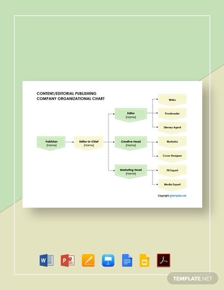 Free Content/Editorial Publishing Company Organizational Chart Template