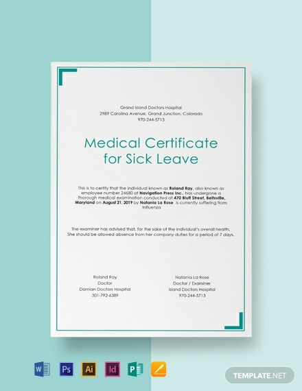 Free Medical Certificate for Sick Leave Template