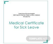 Free medical certificate template in psd ms word for Sick certificate template