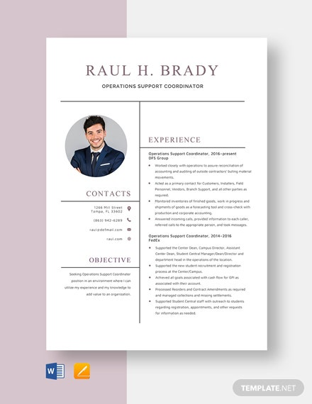 Operations Support Coordinator Resume Template