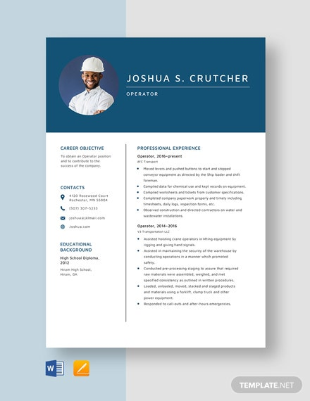 Operator Resume Template