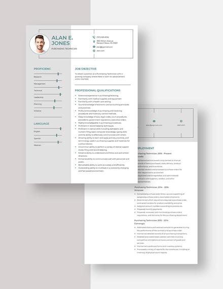 Purchasing Technician Resume Download