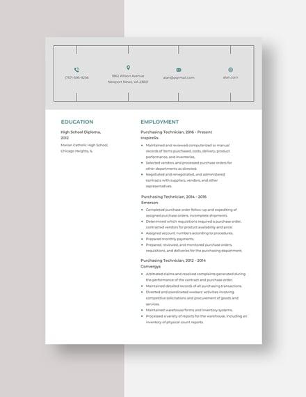 Purchasing Technician Resume Template
