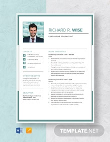 Purchasing Consultant Resume Template