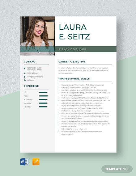 Python Developer Resume Template