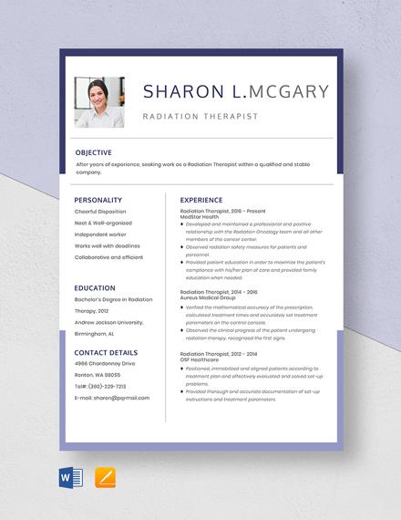 Radiation Therapist Resume Template