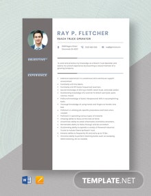 Reach Truck Operator Resume Template