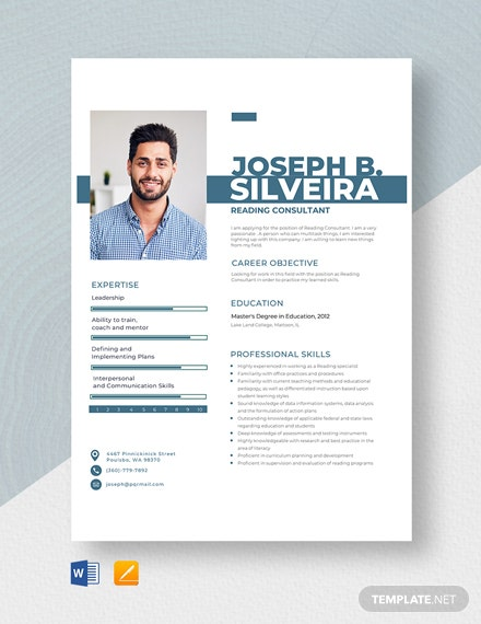 Reading Consultant Resume Template
