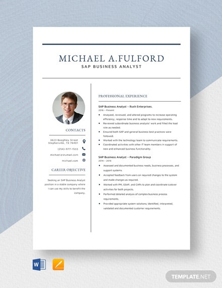 SAP Business Analyst Resume Template