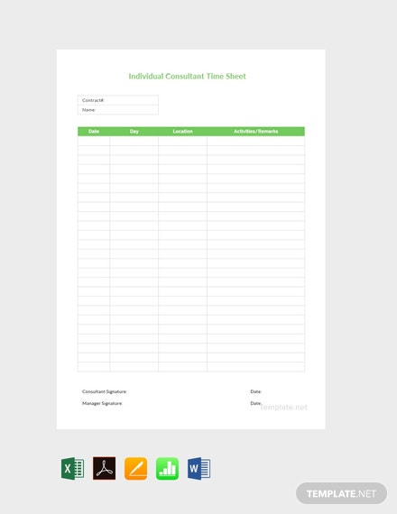 Free Individual Consultant Timesheet Template