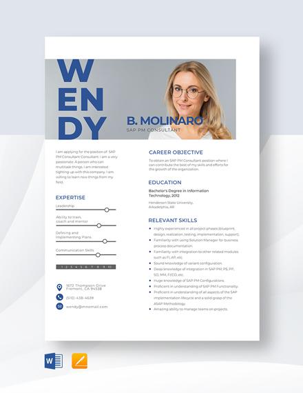 SAP PM Consultant Resume Template