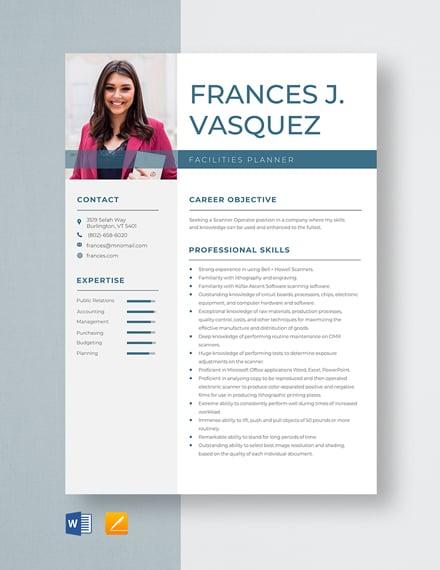 Scanner Operator Resume Template