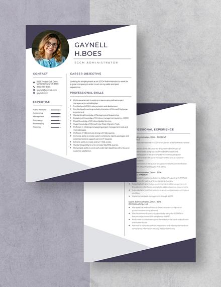 Sccm Administrator Resume Download