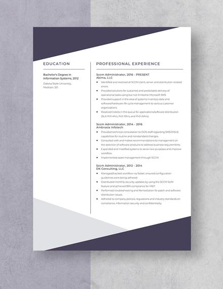 Sccm Administrator Resume Template